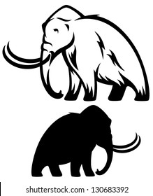 mammoth vector illustration - prehistoric elephant black and white outline and silhouette