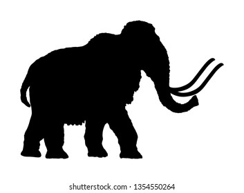 Mammoth vector silhouette illustration isolated on white background. Prehistoric wooly mammoth with tusks isolated.