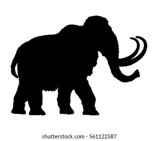Mammoth vector silhouette illustration isolated on white background.