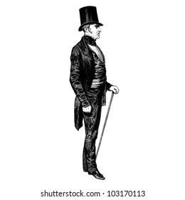 """A man of 1840 - Vintage engraved illustration - """"Les Francais"""" by L.Curmer in 1842 France"""