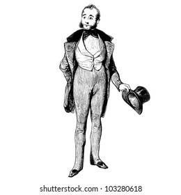 "A man of 1840 - Vintage engraved illustration - ""Les Francais"" by L.Curmer in 1842 France"