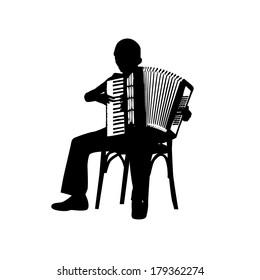man with accordion.  Vector