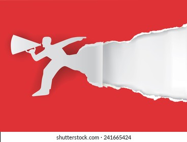 Man advertises or sells shouts in a megaphone with place for your text or image. Template  for a original advertisement. Vector illustration.
