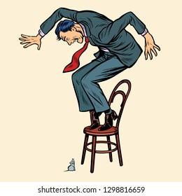 the man is afraid mouse. Pop art retro vector illustration kitsch vintage drawing