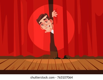 Man afraid of perform stage. Phobia concept. Vector flat cartoon illustration