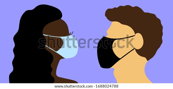 Сaucasian Man and African Woman in blue and black medical masks. Protection against viral infections and COVID-19 concept. Male, female head silhouette wearing face mask to prevent disease, pollution.
