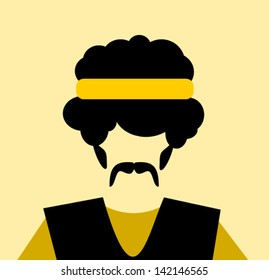 man with afro and yellow headband