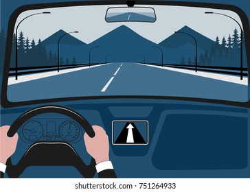 Man after the helm of car, kind from a salon vectorial illustration.