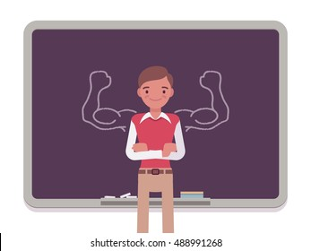 Man against the blackboard with drawn strong arms. Cartoon vector flat-style concept illustration