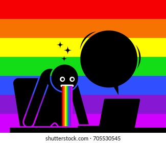 Man is amazed and puking out rainbow saliva by the content he sees from his computer screen. He is impressed, startled, and astonished by the news, information, and things showing on the Internet.