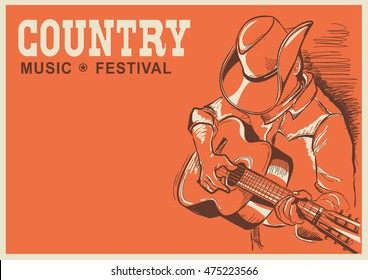 man in american cowboy hat playing guitar. Vector country music poster background