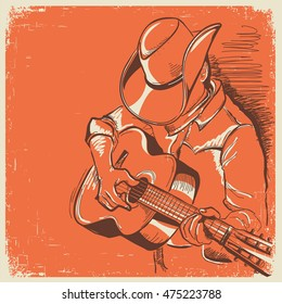 man in american cowboy hat playing guitar. Vector country music old vintage poster background