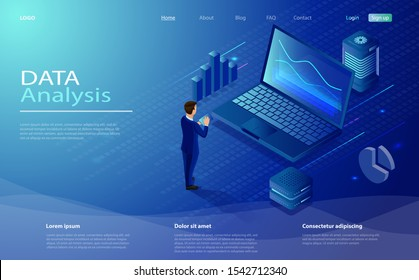 Man analyze diorams and graphics. Data analysis concept with characters.