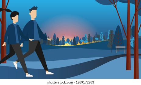 A man Andrew a woman isn't running I in park in the early morning or sunset time with dark blue sky in modern style