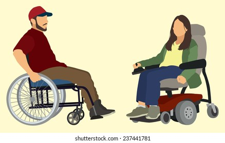 Man ands Woman in Wheelchair