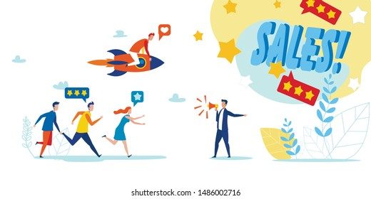 Man Announcing on Megaphone Sales on Rating Application. People Hurrying up for Discount. Man Flying on Rocket. Social Media Marketing. Vector Webshop Sell-Out Flat Metaphor Illustration