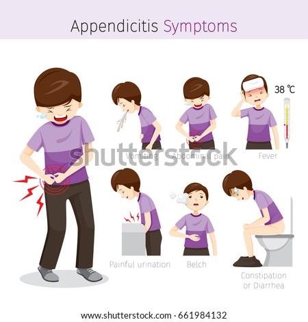 Man Appendicitis Symptoms Appendix Internal Organs Stock ...