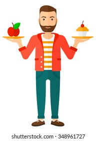 A man with apple and cake in hands symbolizing choice between healthy and unhealthy food vector flat design illustration isolated on white background. Vertical layout.