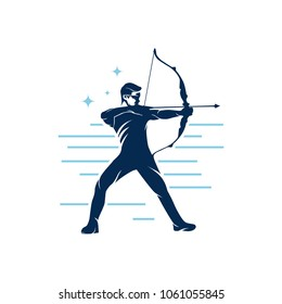 Man Archery Vector, Archer logo template, Background and silhouette