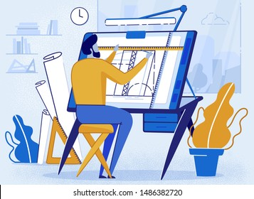 Man Architect Creator Drafting Flat Cartoon Vector Illustration. Architectural Desk for Sketching. Large Sheet Paper, Ruler Architect Workplace. Engineer Office Room Workshop. Creating Project.
