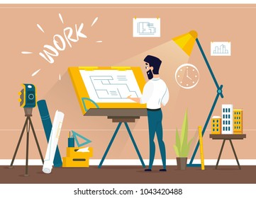 Man architect drawing house project floor plan at draftsman studio with adjustable drawing board desk. Engineer office room workshop. Vector illustration of art idea.