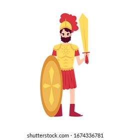 Man or Ares Greek God stands in armor holding sword and shield cartoon style, vector illustration isolated on white background. Mars mythological God of war with weapon in helmet