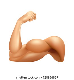 Man arm muscle isolated on white photo-realistic vector illustration