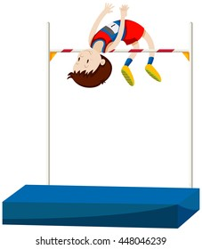 Man athlete doing high jump illustration