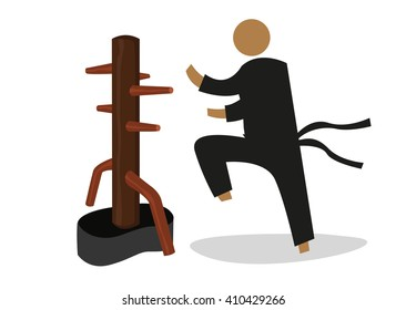 Man Attacks a Wooden Dummy used in personal training by Martial Artists. Editable Clip Art.