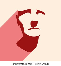 Man avatar. Front view. Male face silhouette. Web icon with long shadow