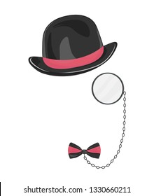 Man avatar item set black hat eyeglasses monocle, bow tie. Fashion vector illustration for gift card certificate banner sticker badge stamp logo, label vector.