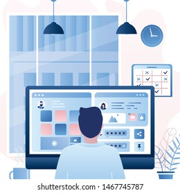 Man back view sits in front of the monitor screen. Social network chatting and work process. Office day concept background. Office room interior with furniture. Trendy style vector illustration