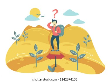 man with backpack at crossroads. can't choose where to go. two different ways. acceptance decisions Flat style vector concept illustration.