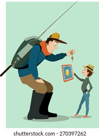 Man  with a backpack and fishing rod, showing a small fish to a little boy. Boy showing him a tablet computer with a big fish drawn on he screen. Vector illustration, no transparencies, EPS 8