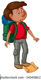 Man with backpack and map illustration