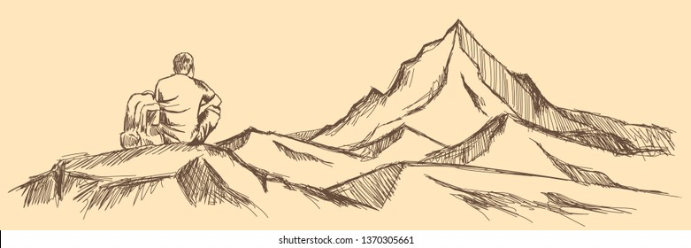 Man with backpack standing on top of the mountain peak, looking out into the distance. Sun, Hand drawn, vector, sketch - Vector