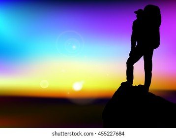 Man with backpack standing on top of the mountain, looking out into the distance. Sun,  vector, sunset, color background, travel