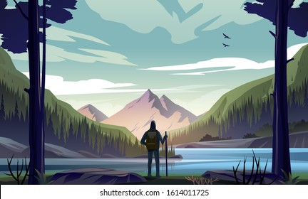 Man with backpack, traveler or explorer standing on the river bank and looking at valley. Concept of discovery, exploration, hiking, adventure tourism and travel. Flat vector nature landscape.