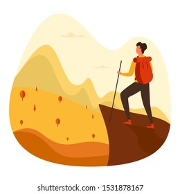 Man with backpack, traveller or explorer standing on top of mountain or cliff and looking on a valley. Concept of discovery, exploration, hiking, adventure tourism and travel. Flat vector illustration.