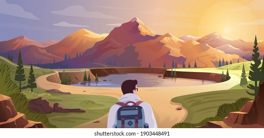 Man with backpack, traveller or explorer walking alone on a forest trail in mountains and looking on valley. Concept of exploration, discovery, hiking, adventure and tourism. Flat vector illustration.