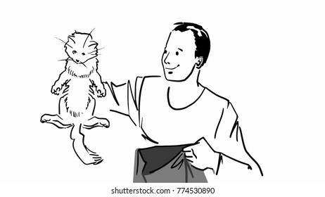 The man with bag holding a cat by the scruff. Black and white vector sketch. Simple drawing.