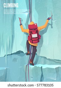 Man with bag on the ice rock. Extreme outdoor sports. Climbing the mountains. Vector illustration