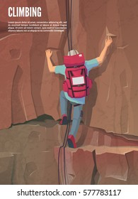 Man with bag on the rock. Extreme outdoor sports. Climbing the mountains. Vector illustration