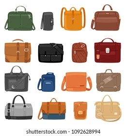Man bag vector men fashion handbag or business briefcase and leather notecase of businessman illustration manlike bagged set of male baggage accessory bagpack isolated on white background