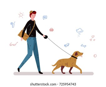 a man with bag walks his dog, character design, icons, flat vector illustration