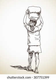 Man with bags on his head, Vector sketch, Hand drawn illustration