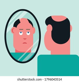 Man with bald patch and thinning hair looking at hair loss in mirror