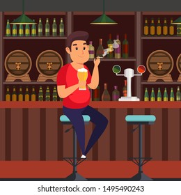Man in bar flat vector illustration. Overweight guy relaxing in pub, smoking cigarette and drinking alcoholic beverage. Unhealthy lifestyle. Obese male cartoon character holding beer glass