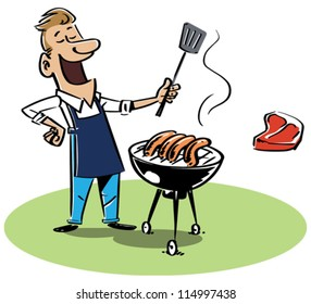 Man with a barbecue grill. The T-bone steak and sausages are on separate layers and can be switched. EPS8-file, fully editable and all labeled in layers.