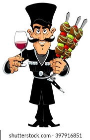 Man with Barbecue and Wine